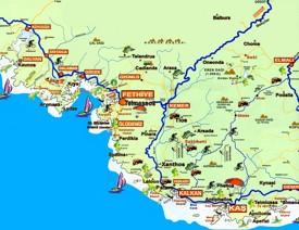 Fethiye area tourist map