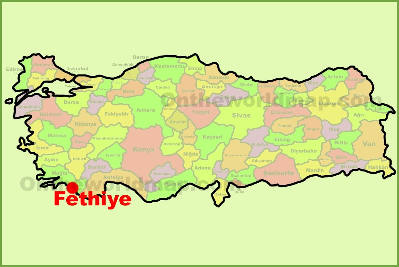 Fethiye location on the Turkey Map