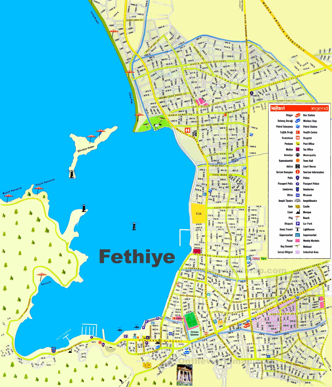 Fethiye tourist map