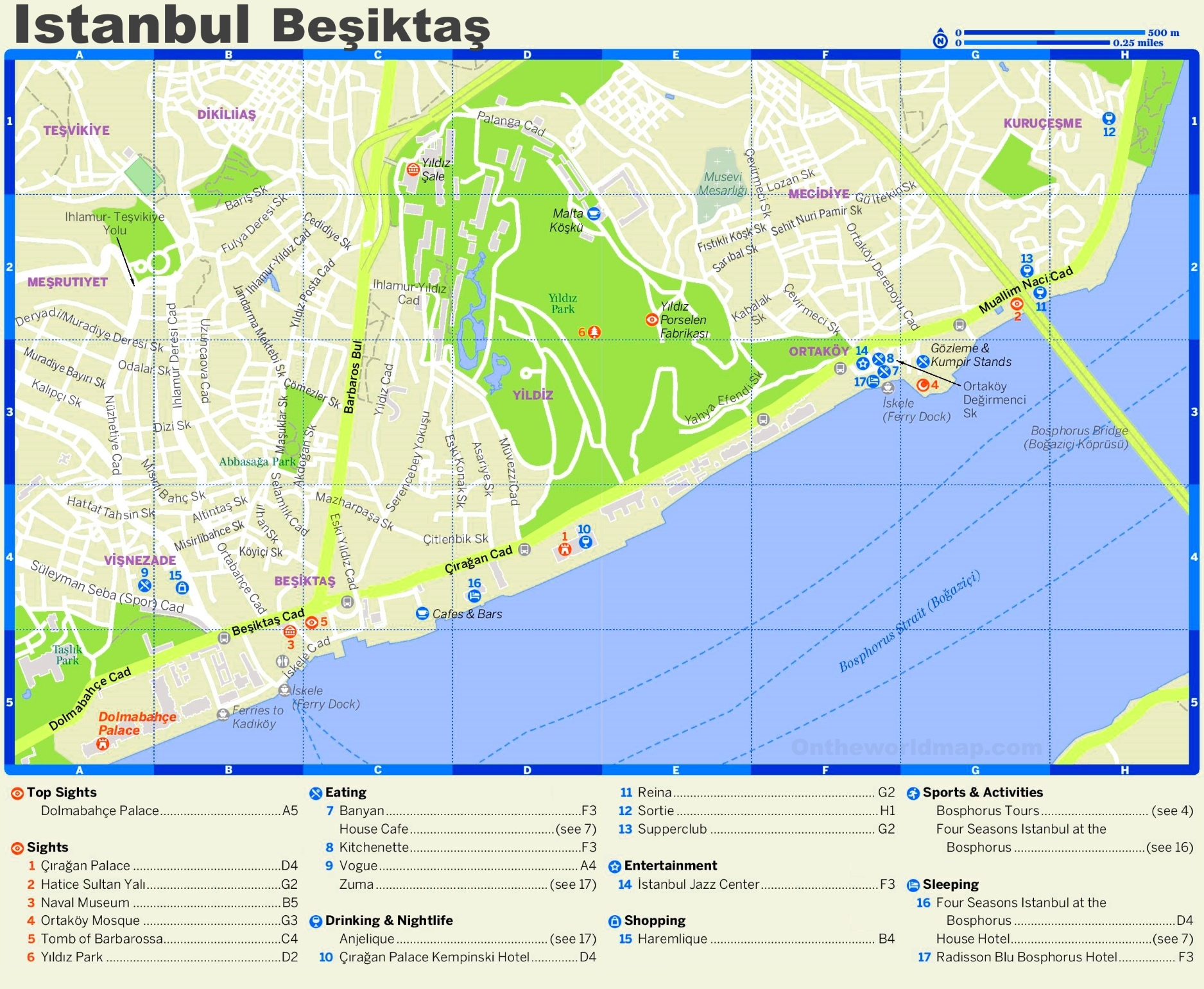 Beikta tourist map