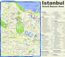 Istanbul Grand Bazaar area tourist map