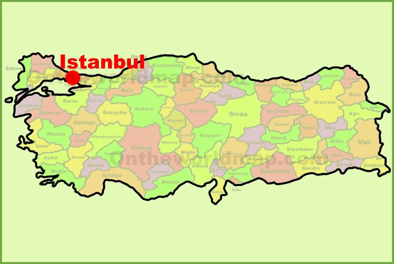 Istanbul location on the Turkey Map