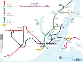 Istanbul transport and sightseeing map