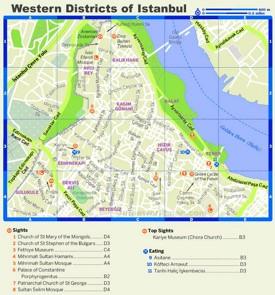 Istanbul Western District tourist map
