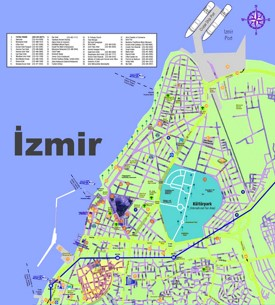 İzmir hotels and sightseeings map