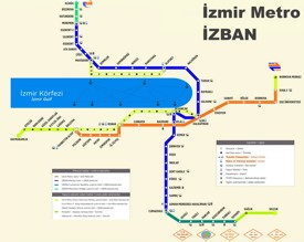 İzmir İZBAN and metro map<