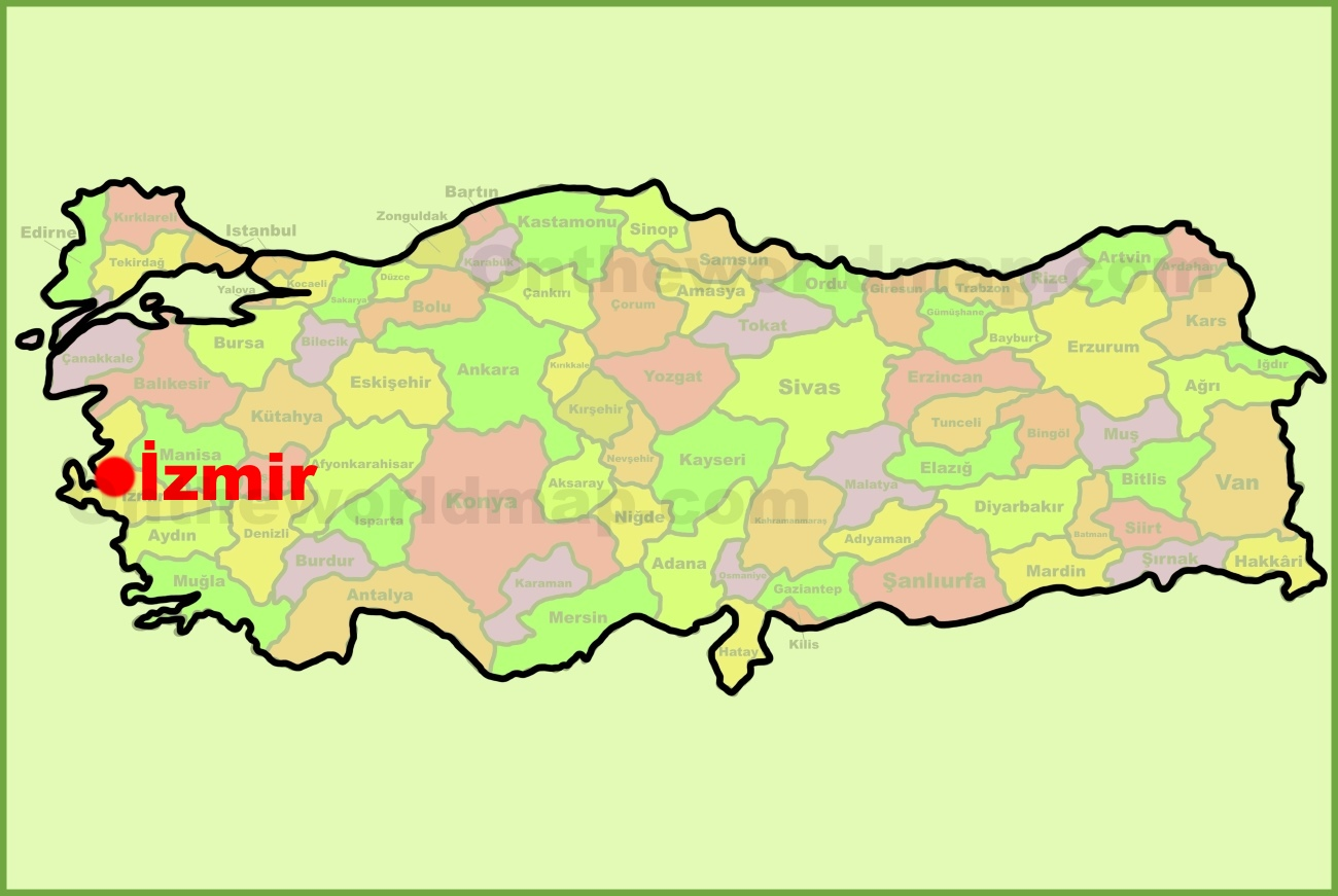 zmir location on the Turkey Map