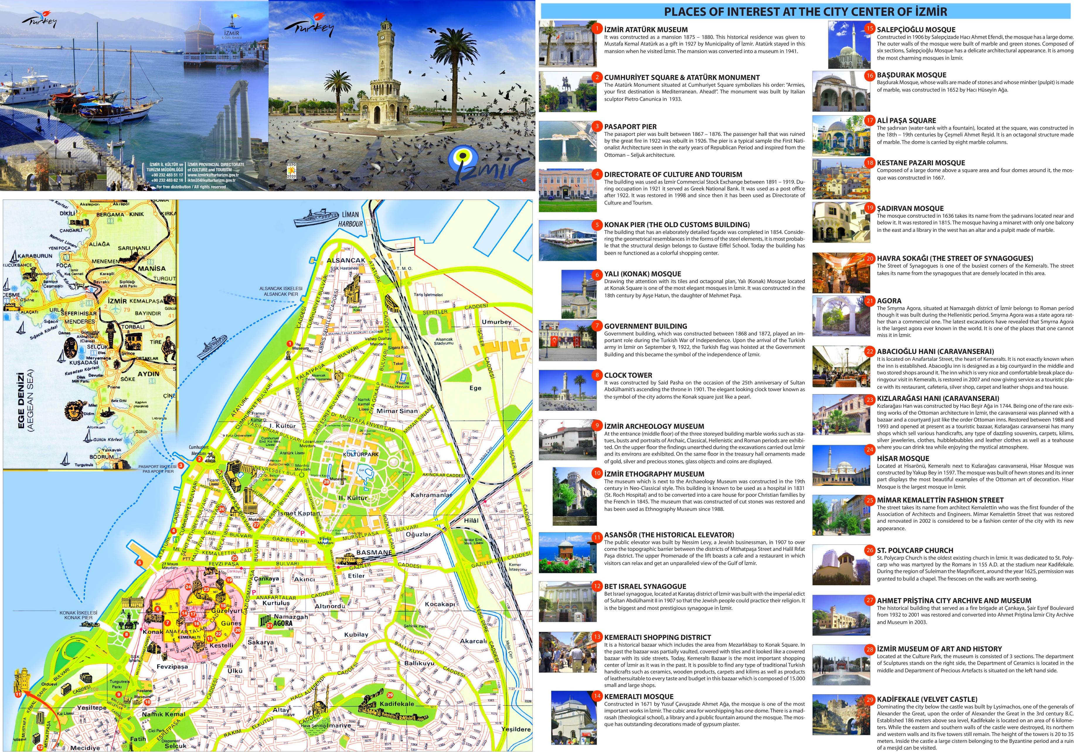 zmir tourist attractions map
