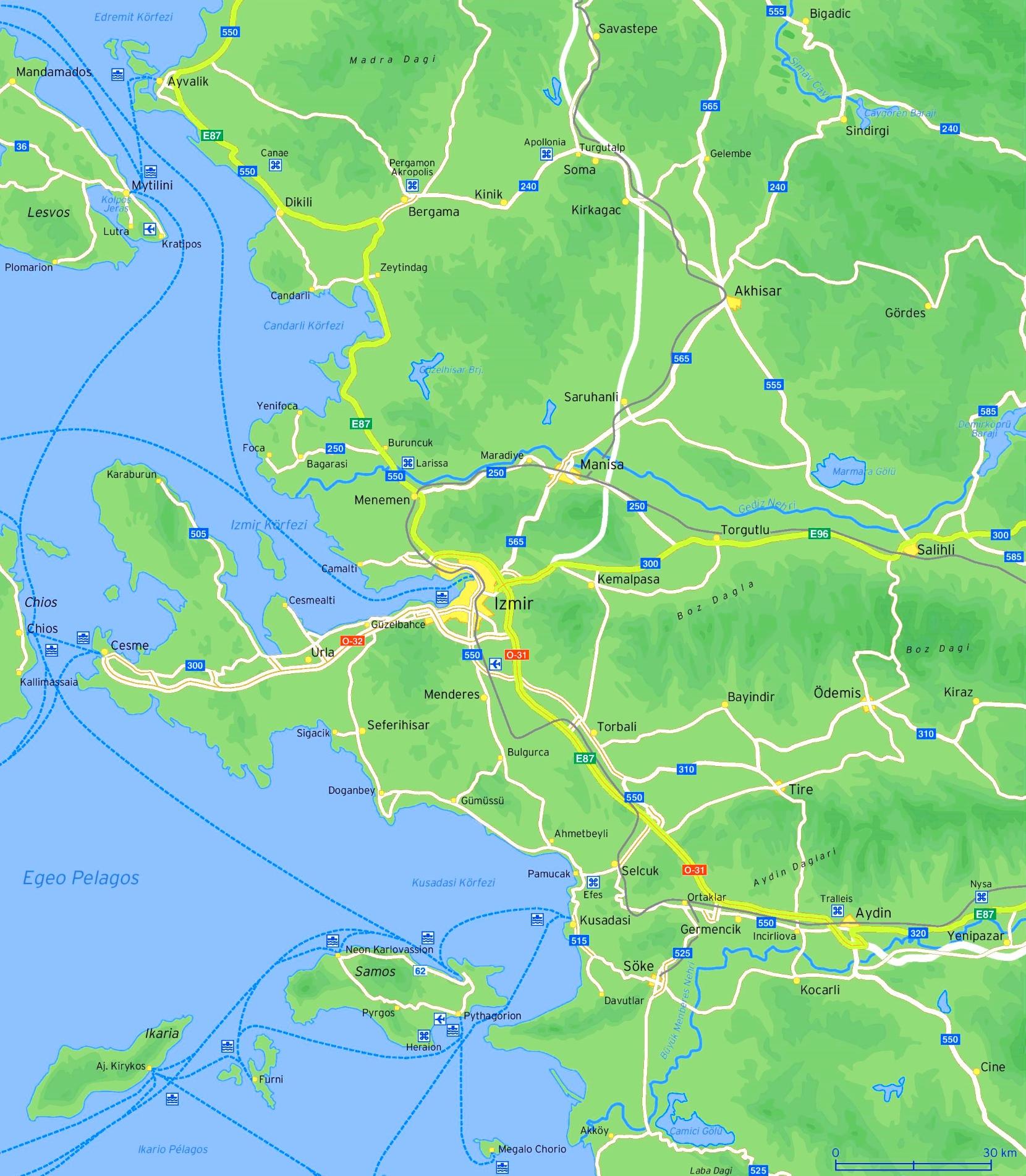 Turkey izmir map of Large Izmir