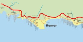 Kemer area hotel map