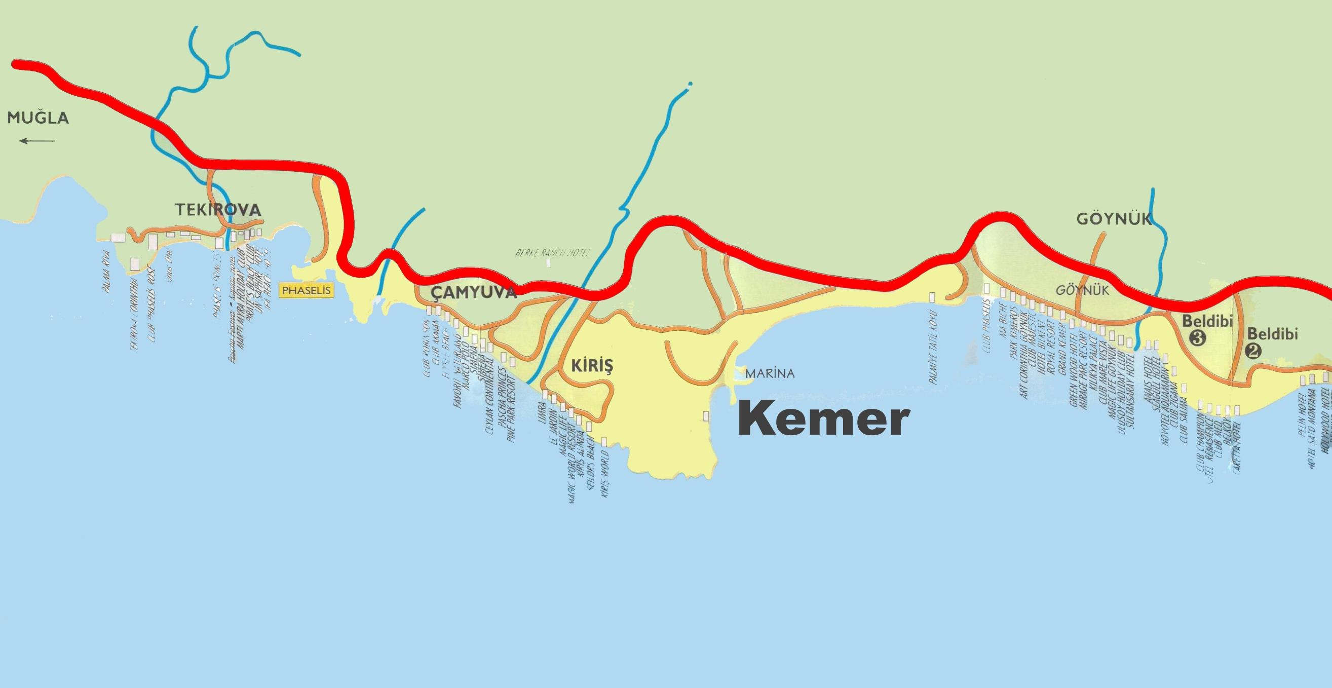 Kemer area hotel map