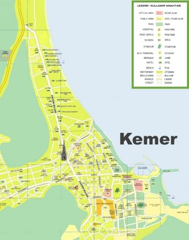 Kemer hotels and sightseeings map