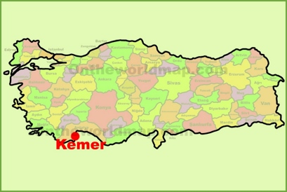 Kemer Location Map