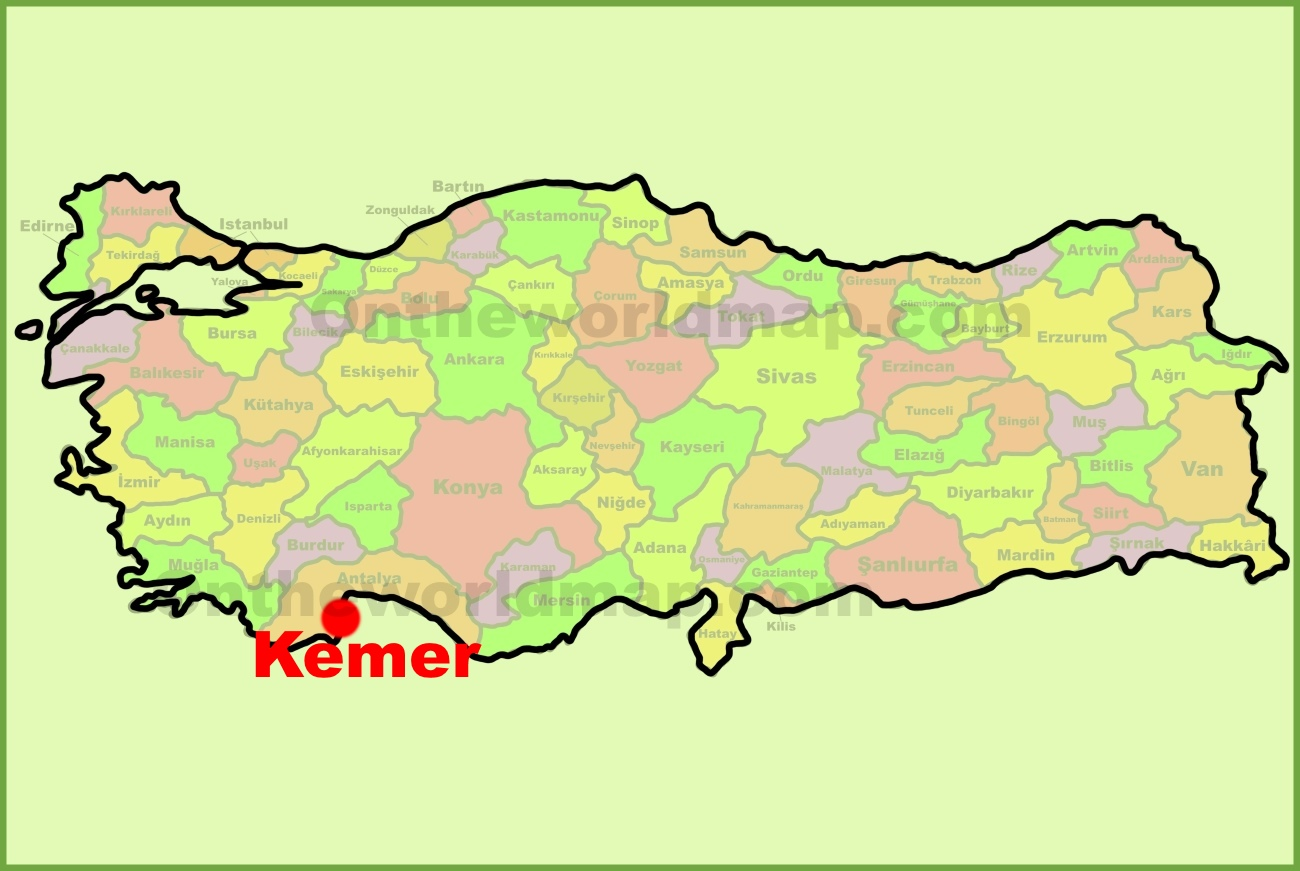 Kemer location on the Turkey Map
