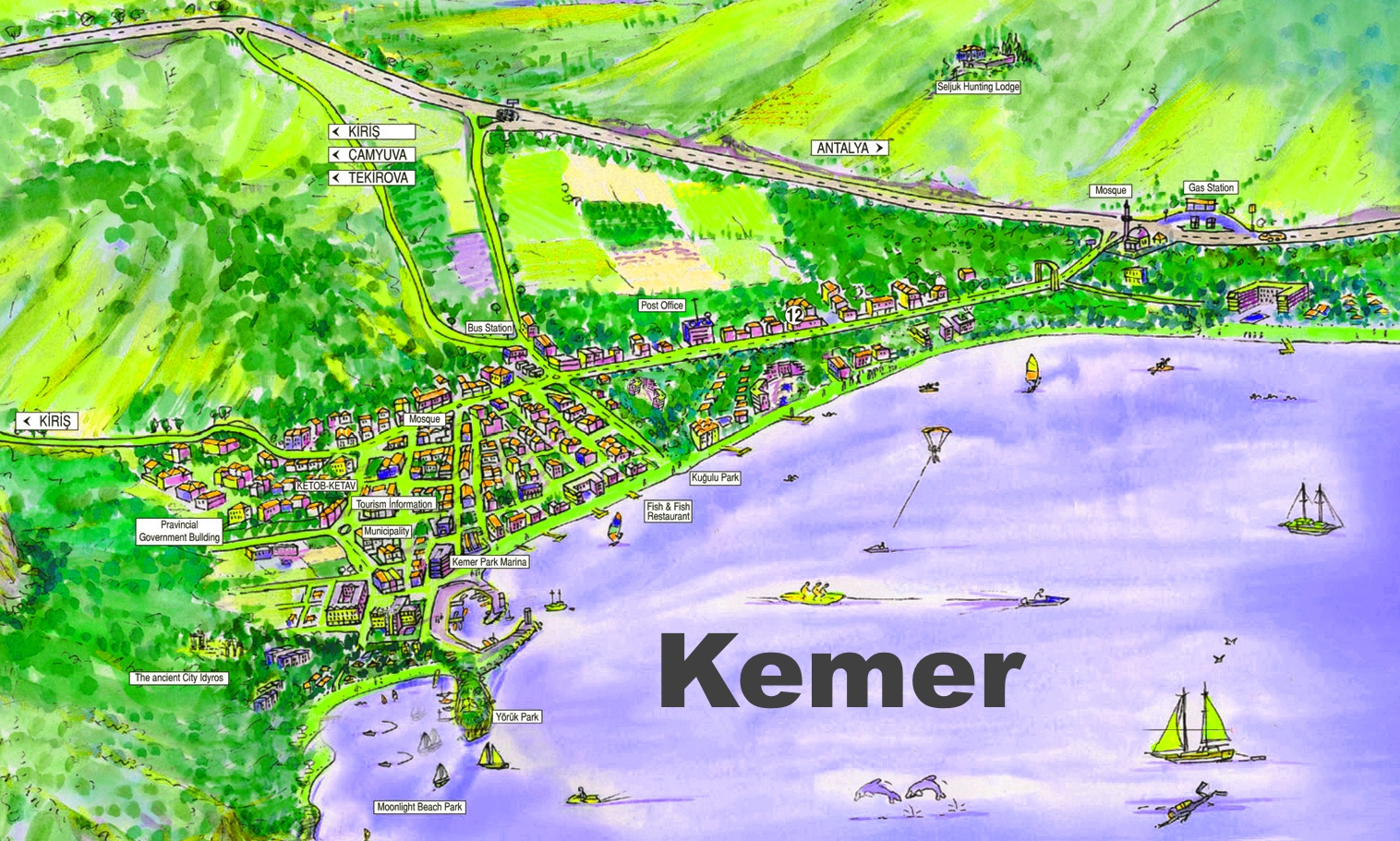 Kemer tourist map