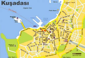 Kuşadası sightseeing map