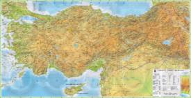 Large detailed physical map of Turkey