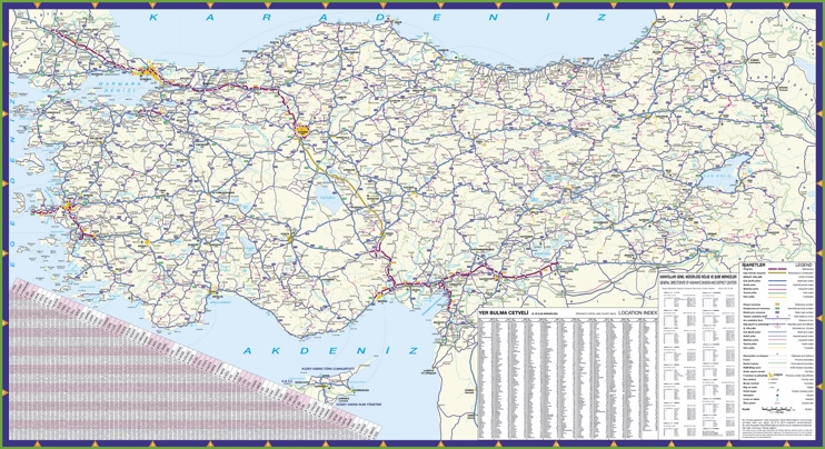 Large detailed road map of Turkey