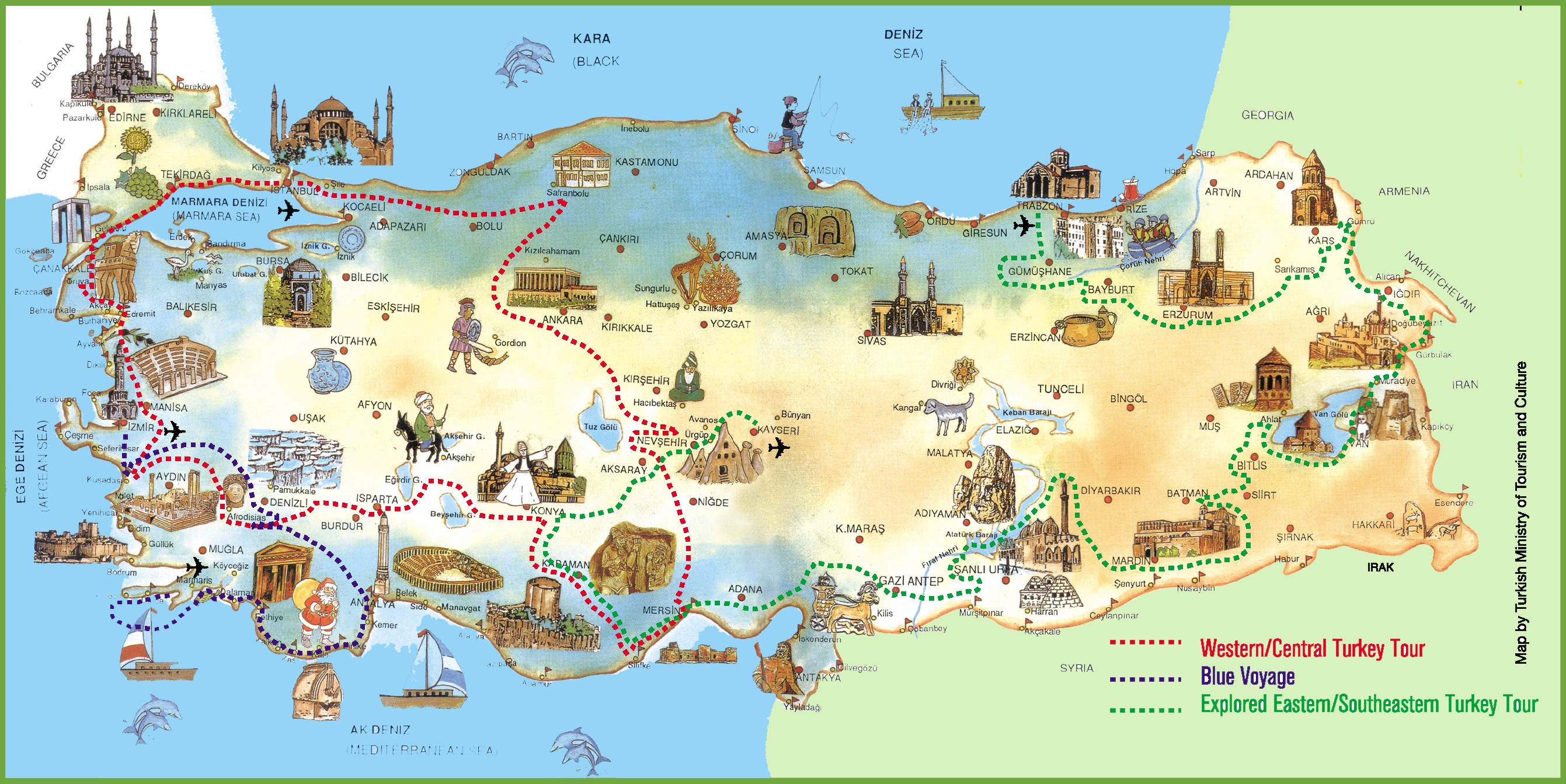 Turkey attractions map – Spain Tourist Attractions Map