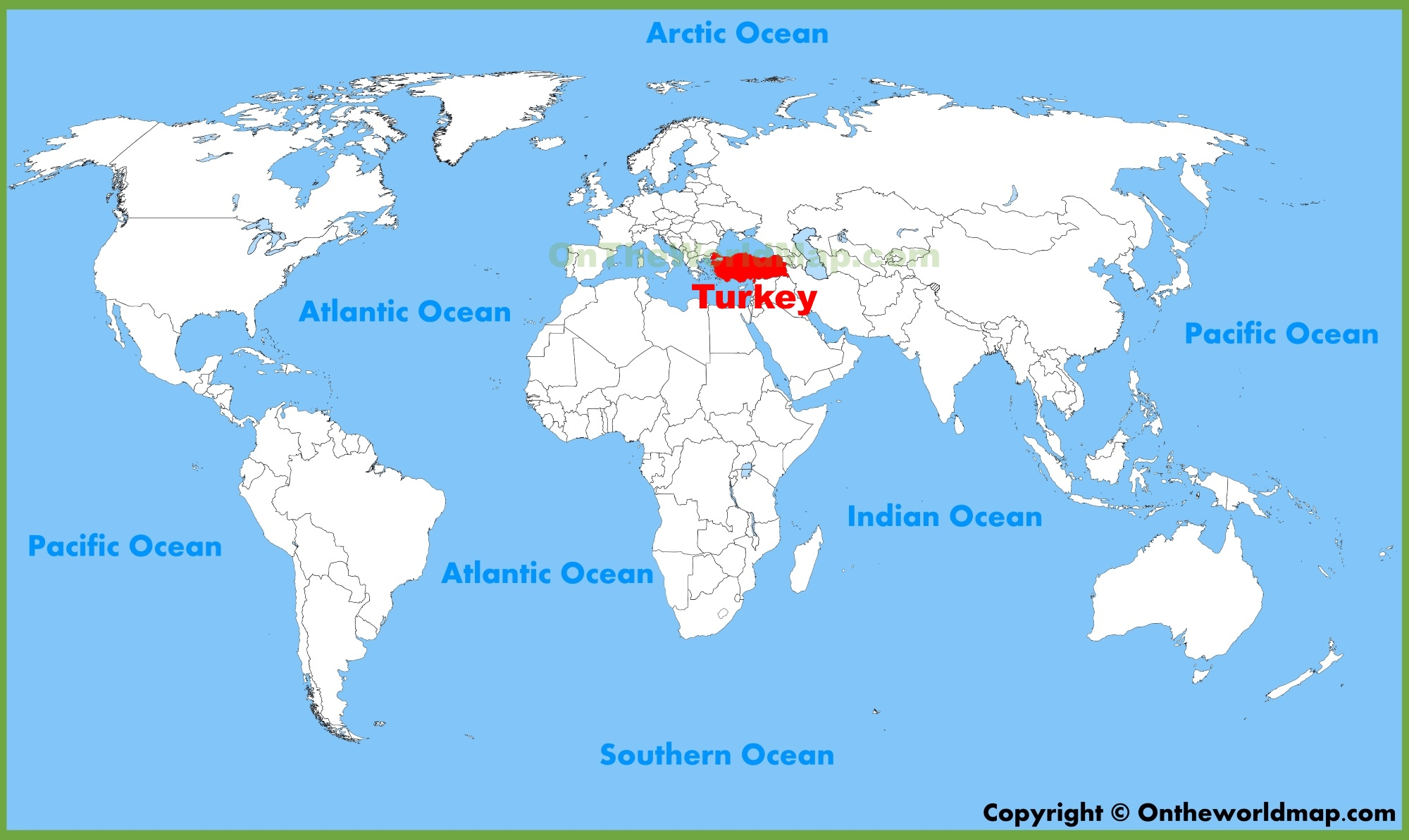 Turkey location on the World Map