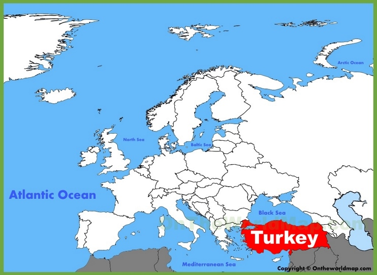 Turkey location on the Europe map