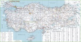 Turkey tourist map with resorts and airports