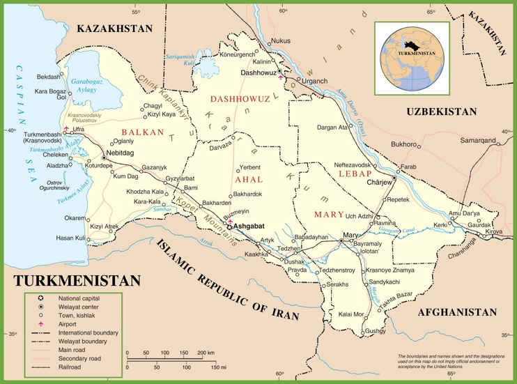 Large detailed political map of Turkmenistan