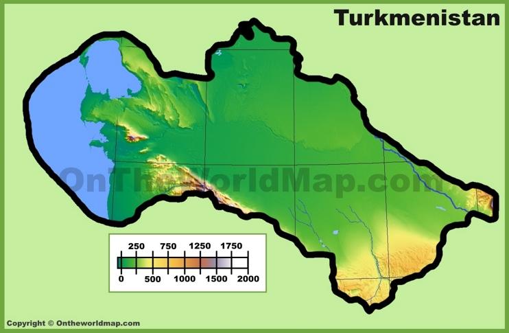 Turkmenistan physical map