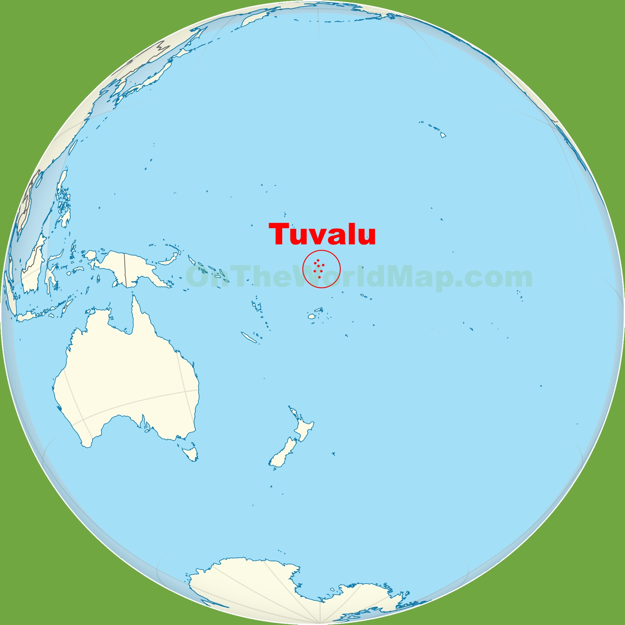 Tuvalu location on the Pacific ocean map