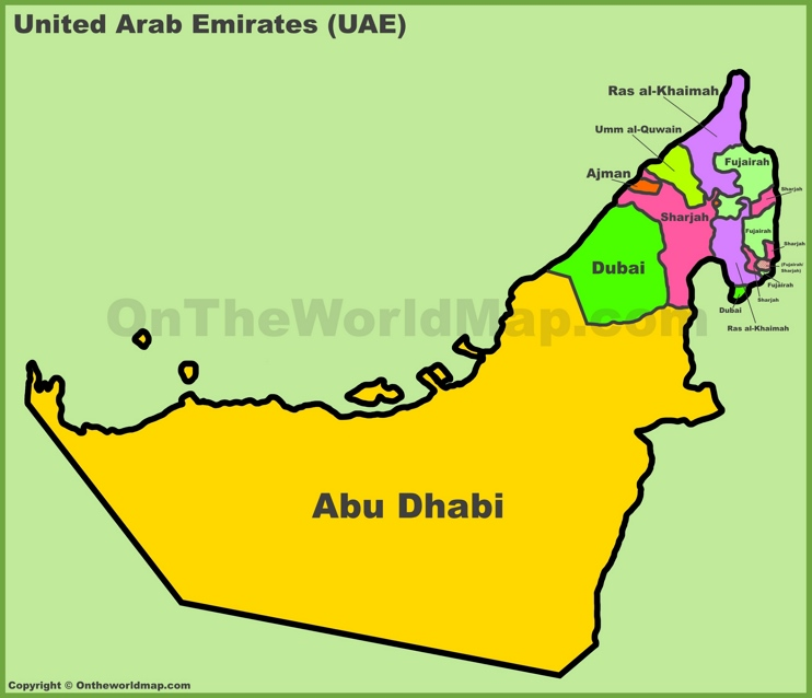 Administrative divisions map of UAE