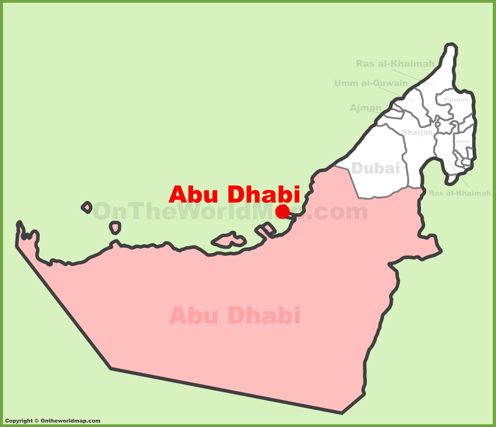 Abu Dhabi location on the UAE United Arab Emirates Map