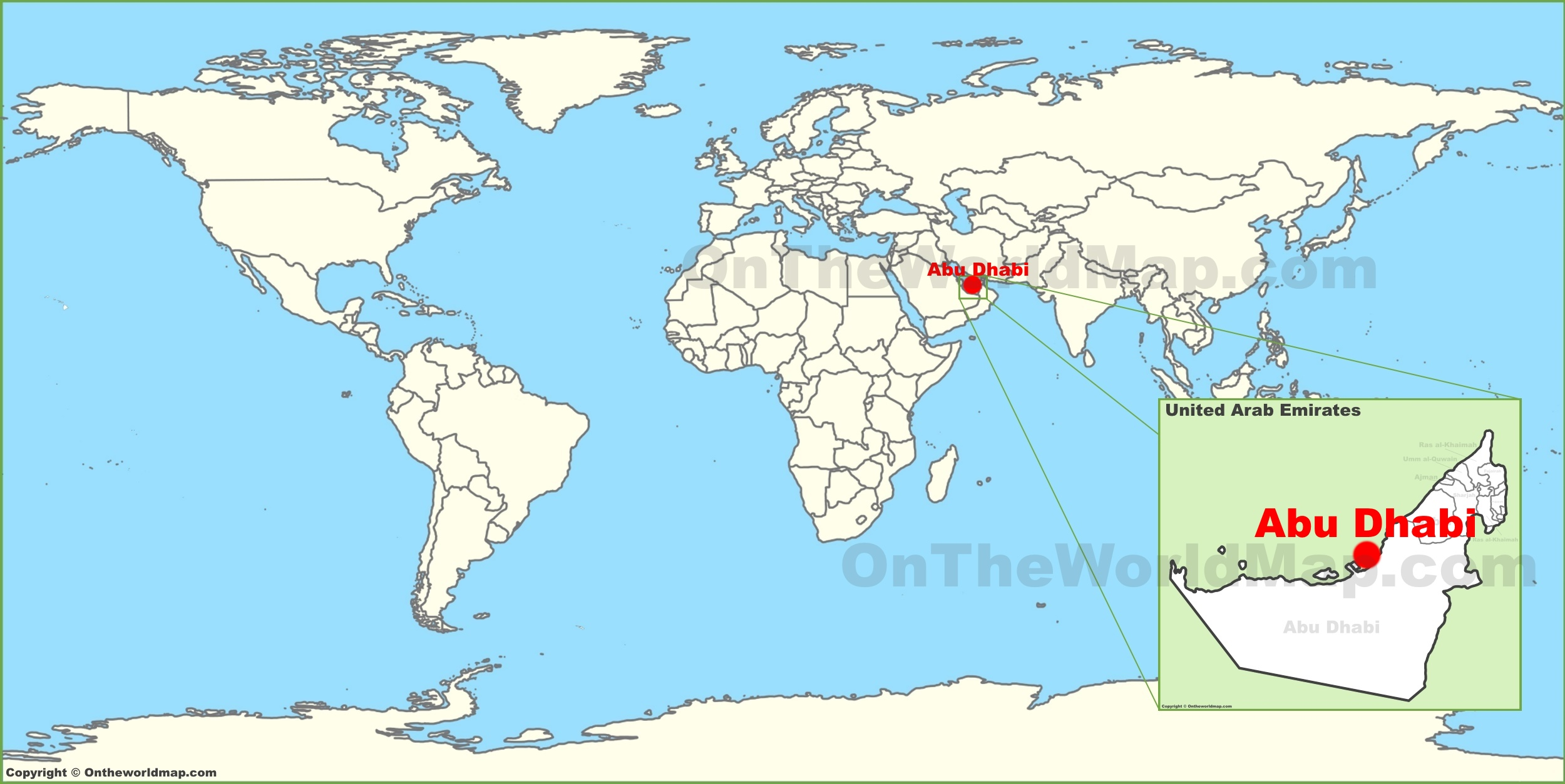 Map Of Abu Dhabi Abu Dhabi on the World Map