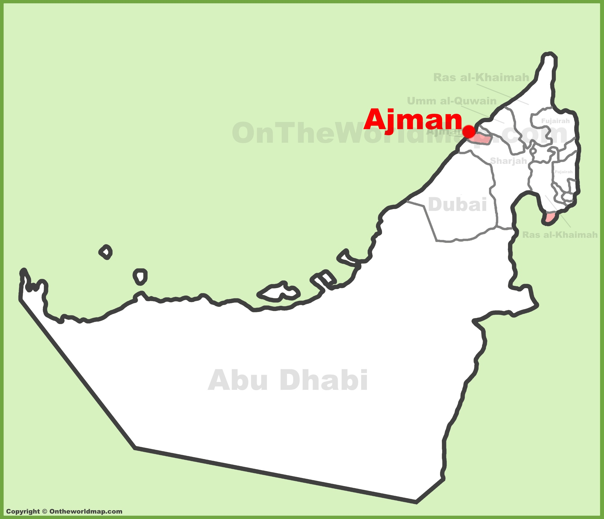 Ajman Location On The UAE United Arab Emirates Map - United arab emirates map