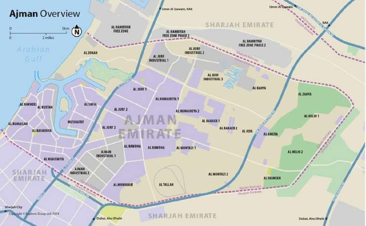 Emirate of Ajman map