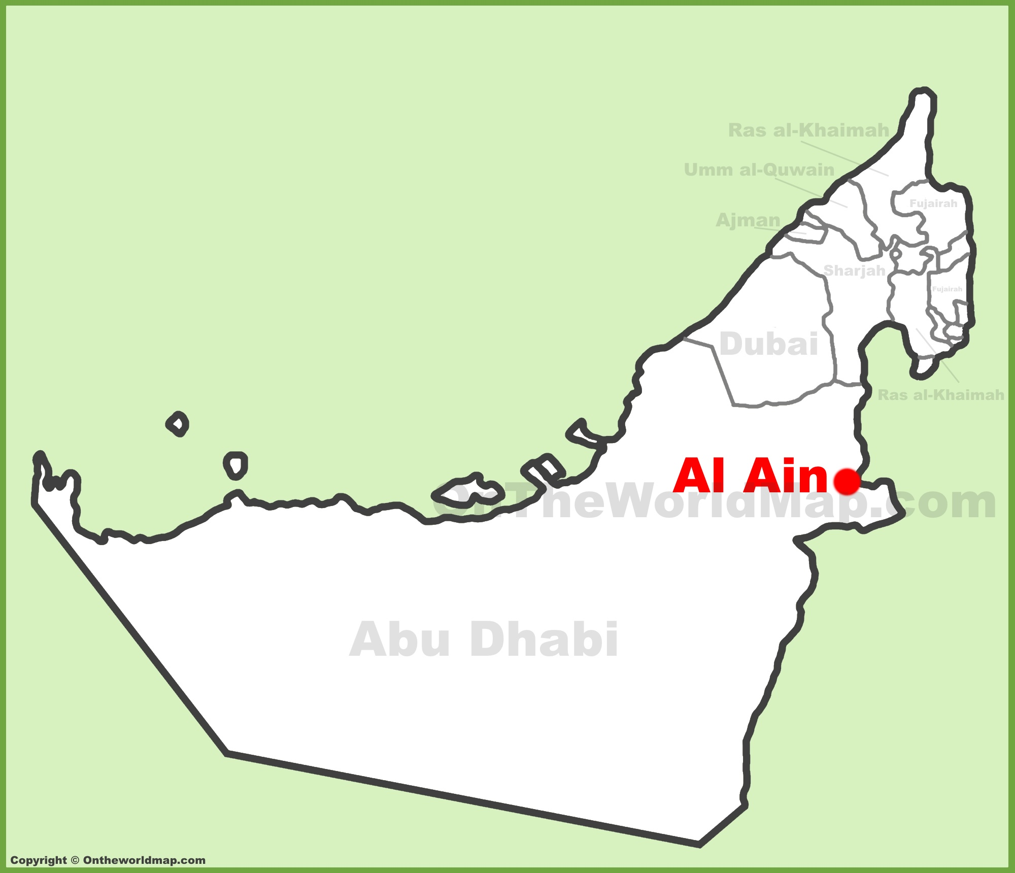 Al Ain location on the UAE United Arab Emirates Map