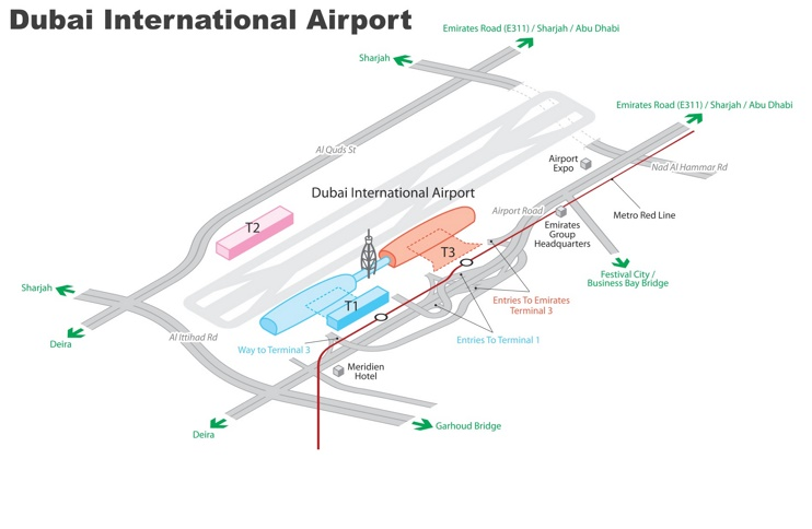 Dubai International Airport map