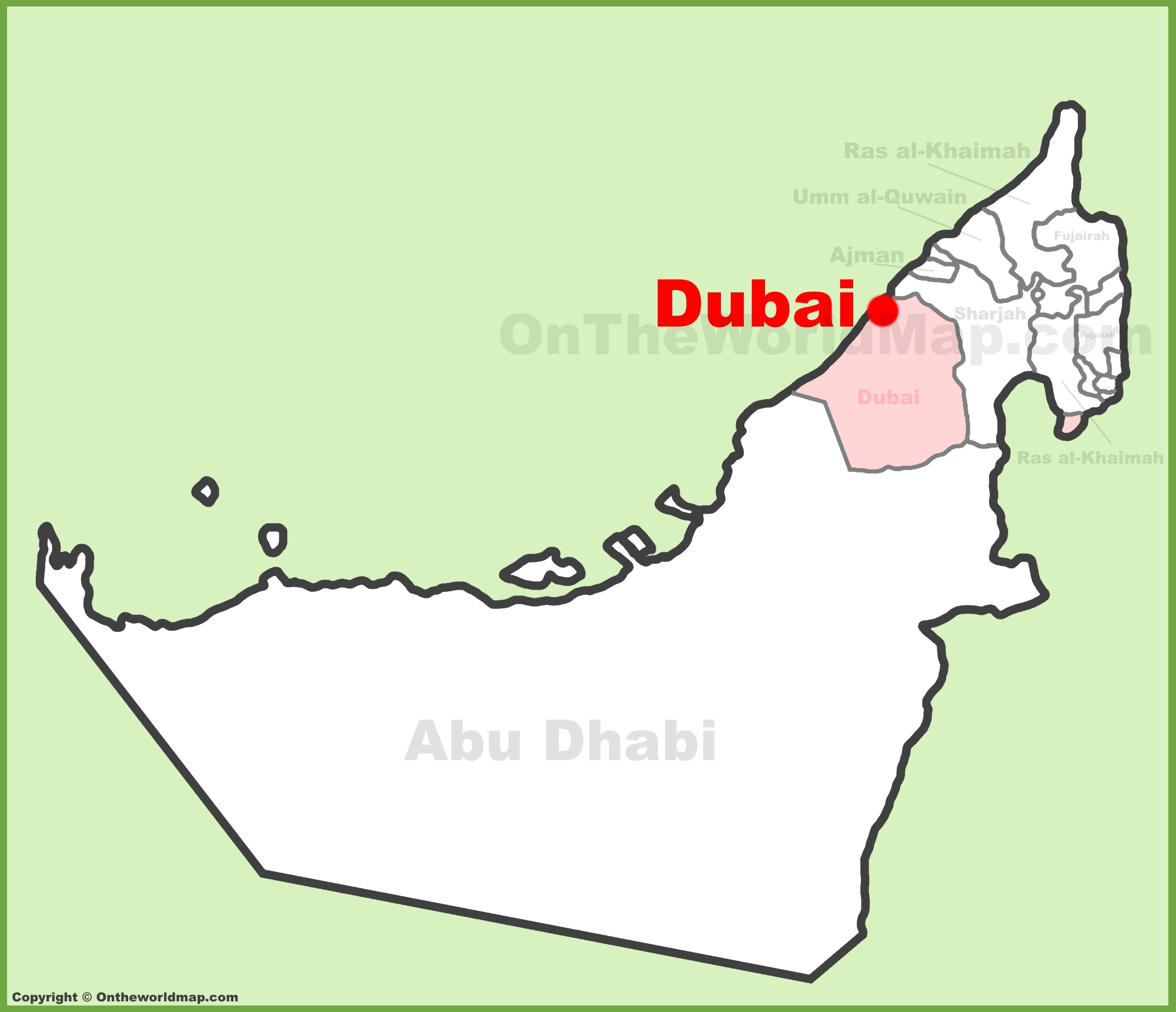Dubai location on the UAE United Arab Emirates Map