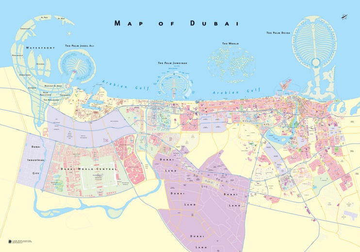 Large detailed map of Dubai