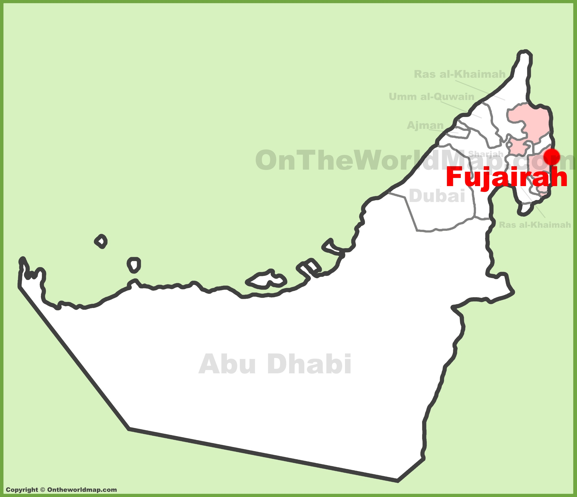 Fujairah location on the UAE United Arab Emirates Map