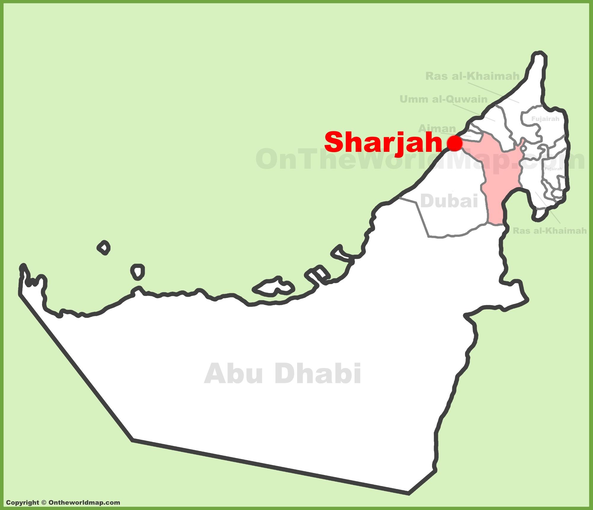 Sharjah location on the UAE United Arab Emirates Map