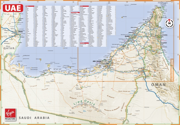 Large detailed map of UAE with cities and towns