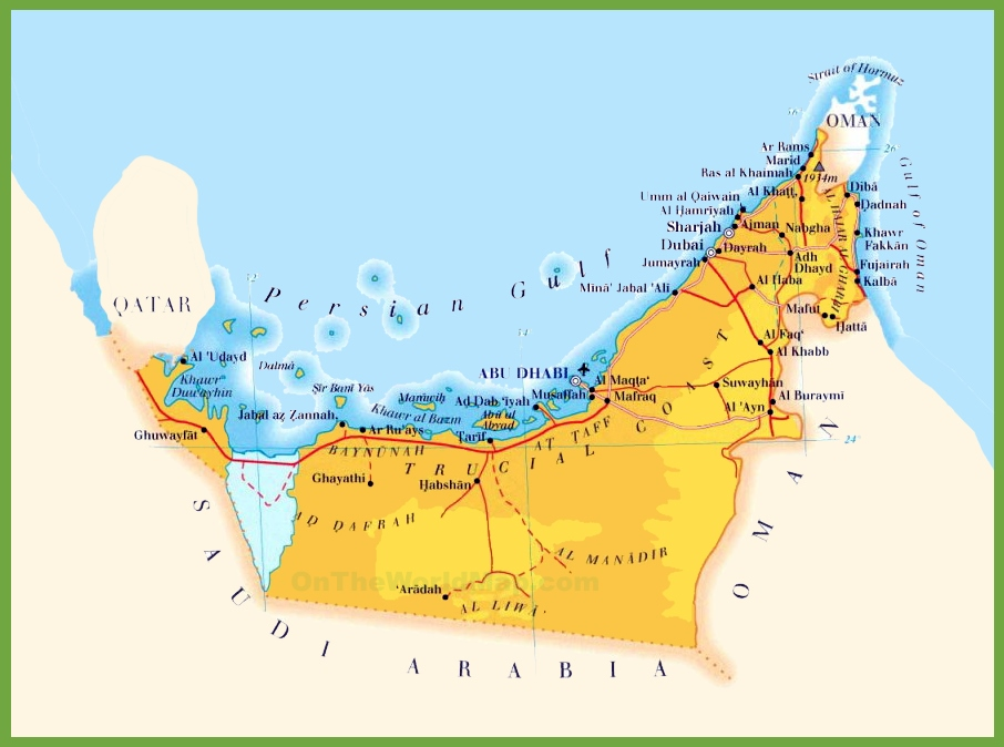 road map of united arab emirates
