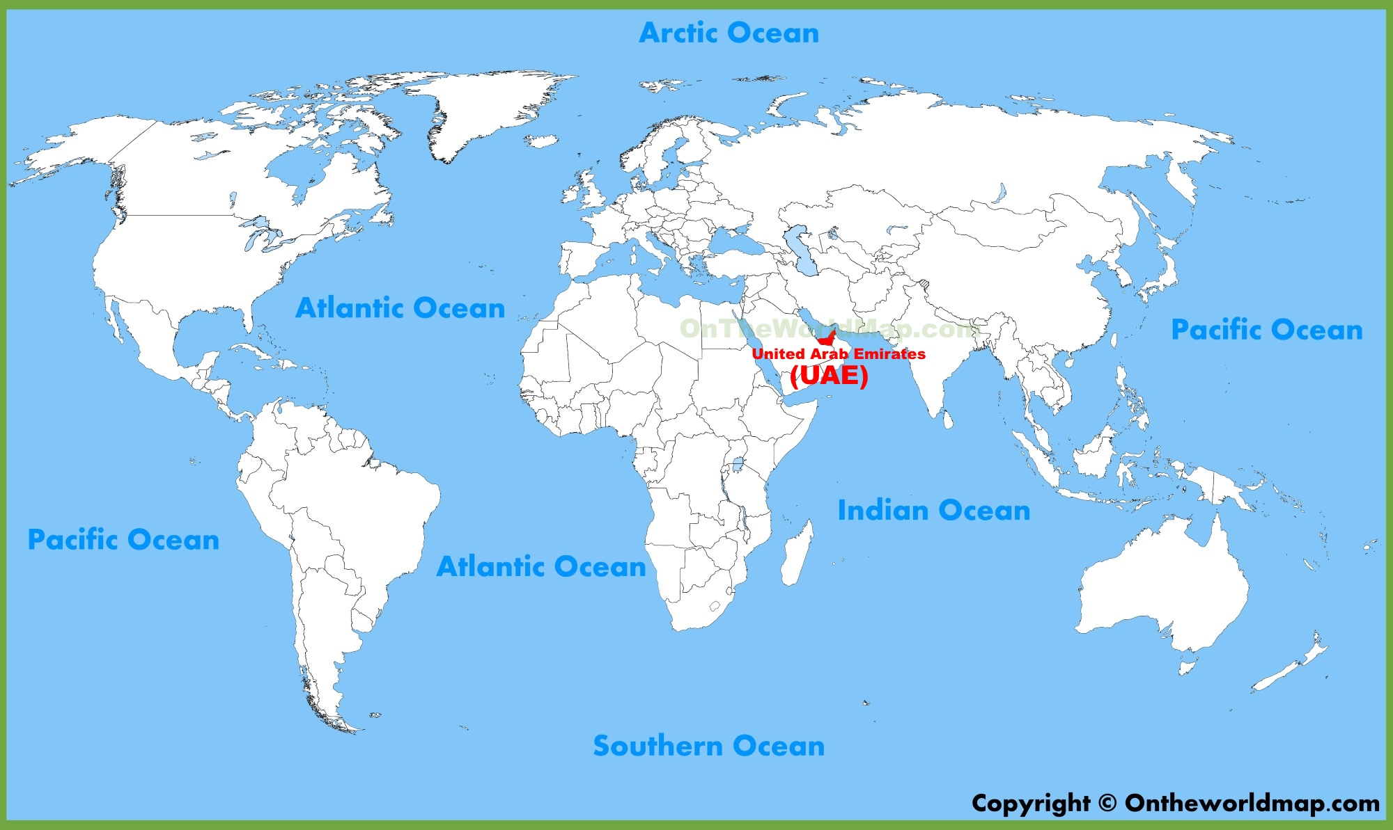 United Arab Emirates UAE location on the World Map