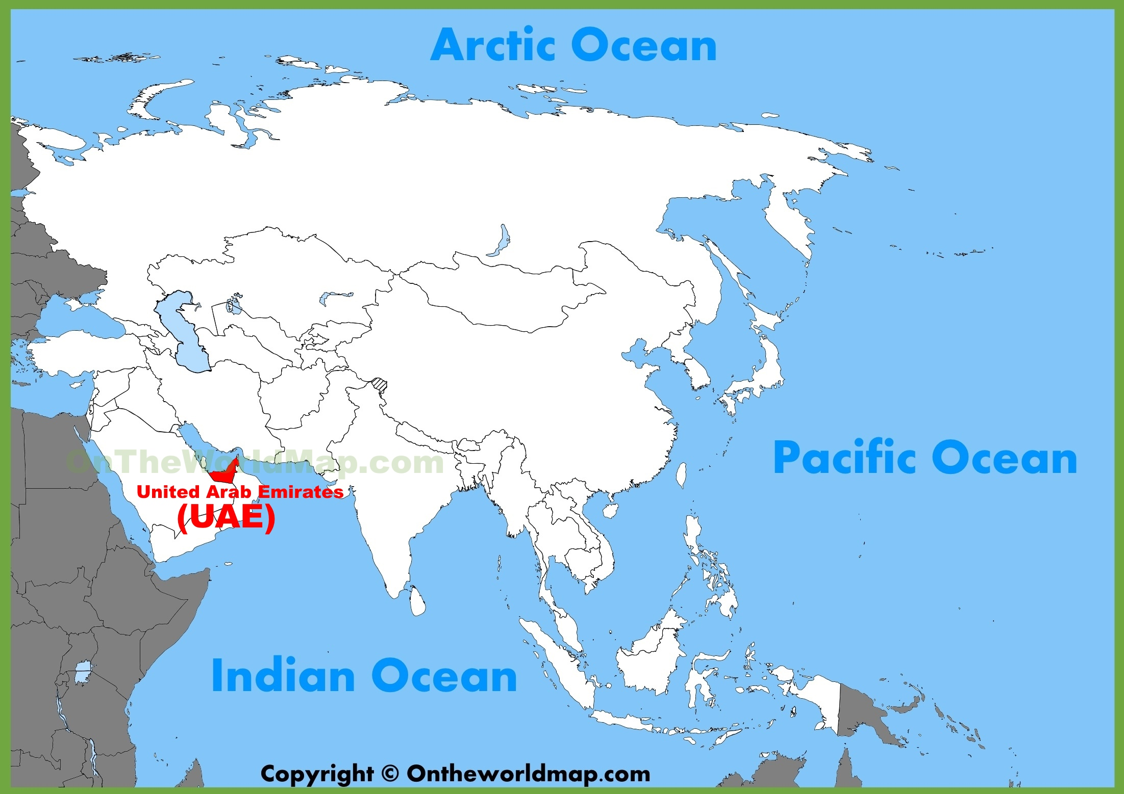 UAE Location On The Asia Map - Mauritius location in world map
