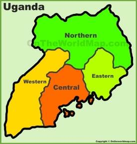 Administrative divisions map of Uganda