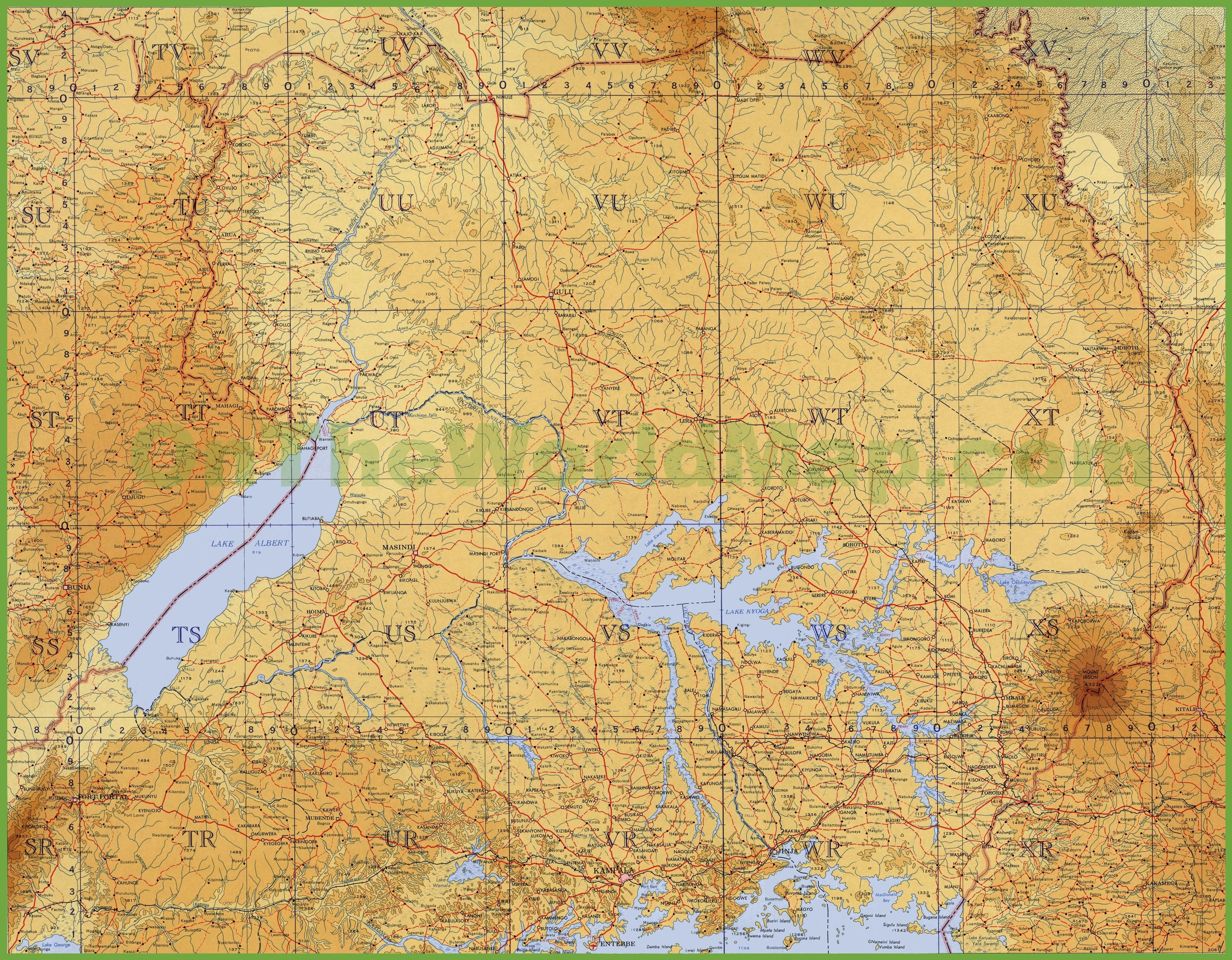 Topographic map of Uganda