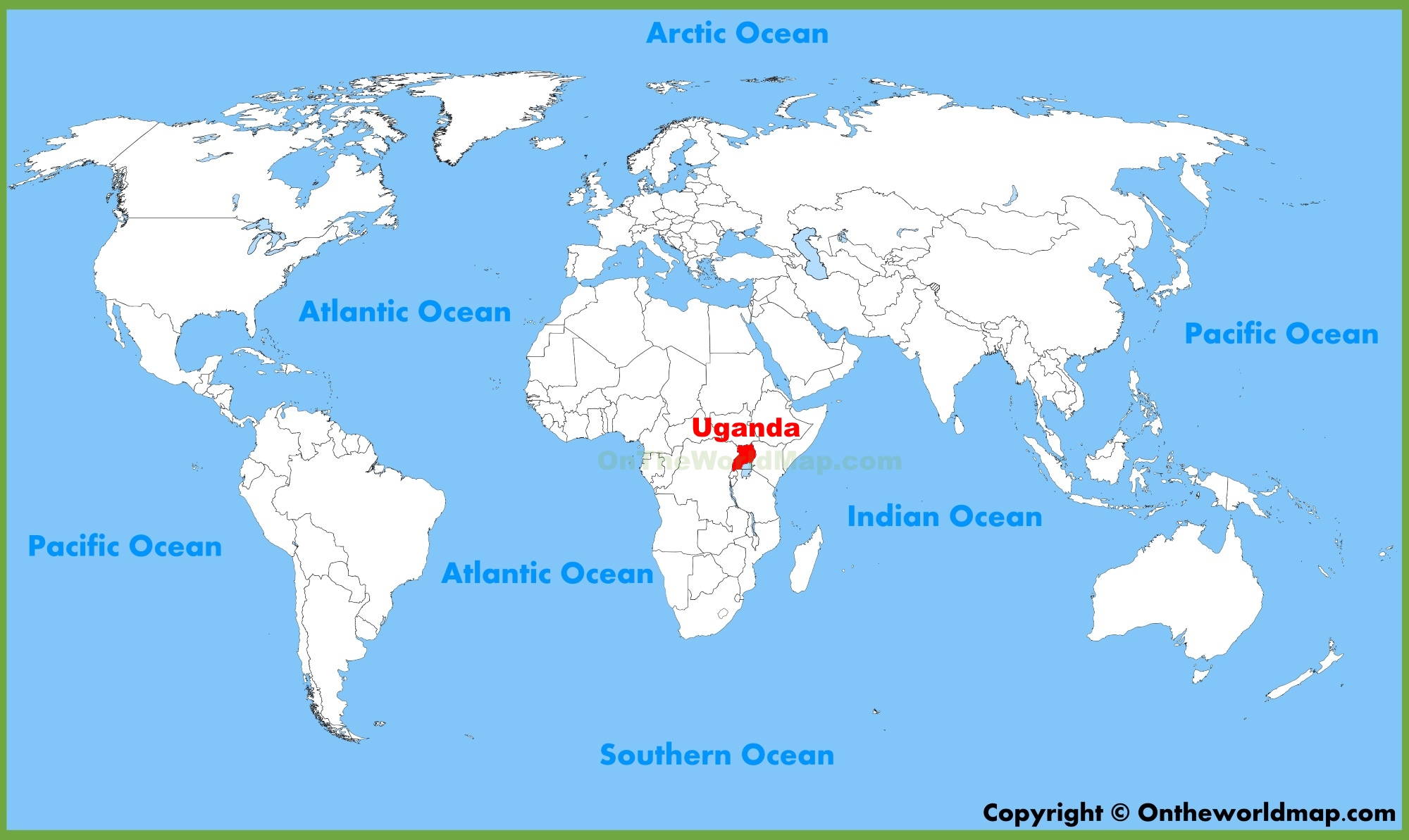 Uganda location on the World Map
