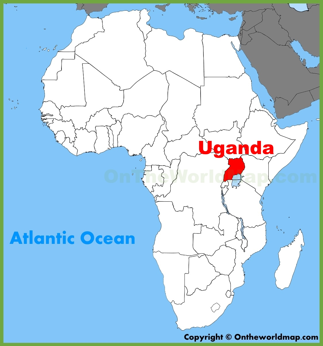 africa map of uganda