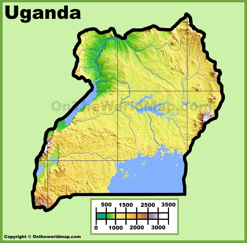 Uganda Physical Map - Map of uganda
