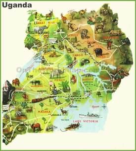 Uganda tourist map